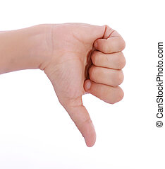 thumb down - Gesture thumb down isolated over white...