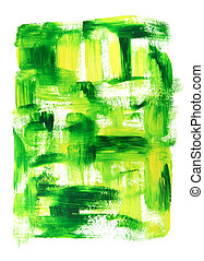 Vibrant green and yellow oil painting
