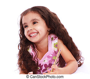child girl - Child girl with pencils and paper over white...