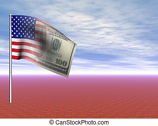 3D concept American flag us dollar over blue sky and...