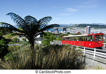 Wellington cable car - Red Historic Cable Car, Wellington,...