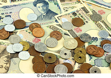 Japanese yen bills and coins