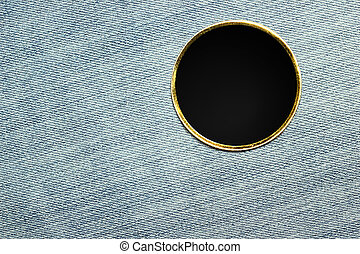Blank black pin on trousers material