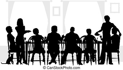 Family meal - Editable vector silhouettes of a family dining...