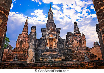 Architectonic detail of buddhist temple Wat Mahathat in Sukhothai, Thailand