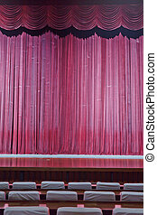 Stage - Pleated, red, hanging fabric stage curtain