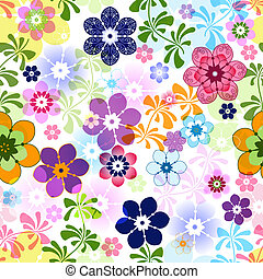 Spring colorful seamless floral pattern with transparent...
