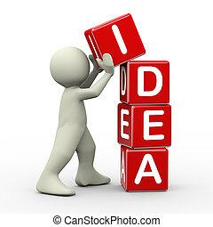 3d man placing idea cubes - 3d render of person placing idea...
