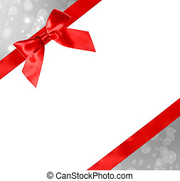 Red Bow and Ribbon with Abstract Lights - Red Bow and Ribbon...