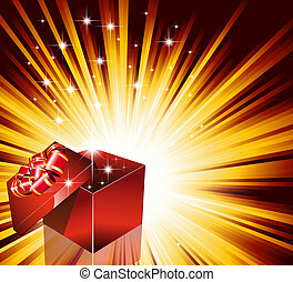 Birthday or Christmas Gift Card with an Explosion of Stars
