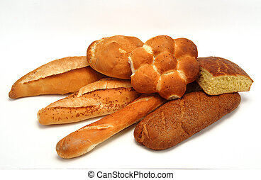 several breads on white