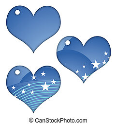 Heart Collection - 3 blue hearts with stripes and stars