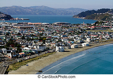 Wellington Cityscape - Aerial view of Lyall Bay in...