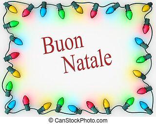 Christmas Lights Border Merry Christmas Italian Language