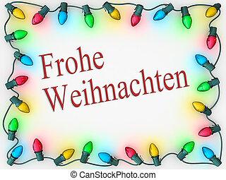 Christmas Lights Border Merry Christmas German Language