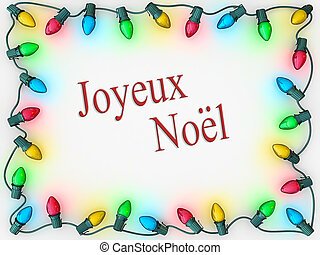 Christmas Lights Border Merry Christmas French Language -...