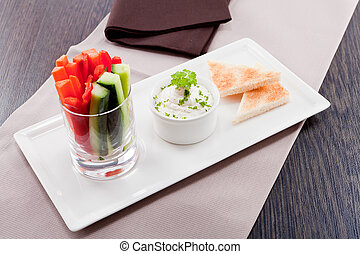 fresh vegetables and cream cheese dip snack - fresh...