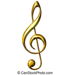 3D Golden Treble Clef - 3d golden treble clef isolated in...