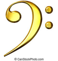 3D Golden Bass Clef - 3d golden bass clef isolated in white