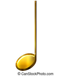 3D Golden Quarter Note - 3d golden quarter note isolated in...