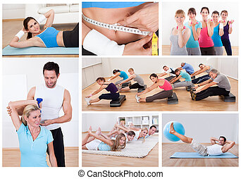 Fitness set - Collage of various fitness images with people...