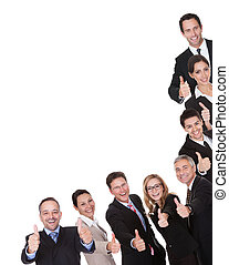 Group of executives giving a thumbs up - Laughing group of...