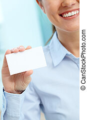Showing card - Close-up of blank card shown by a lovely...