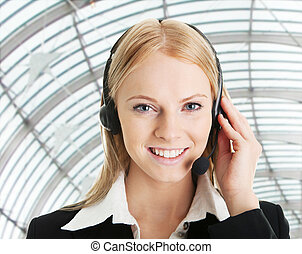 Cheerful call center operator - Portrait of cheerful call...