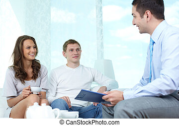 Financial consulting - Positive family meeting with a...