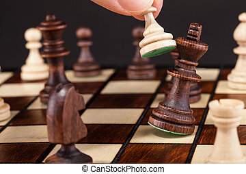 Person Playing Chess - Close-up Of Hand Playing Chess And...