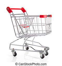 Empty Shopping Cart Isolated Over White Background