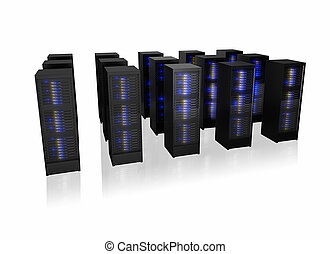 Several rows of server racks. Isolated on white background