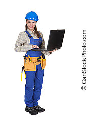 Female Worker Working On Laptop