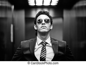Ambitious - Black-and-white portrait of an ambitious...