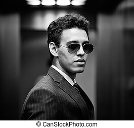 Successful look - Black-and-white portrait of a successful...
