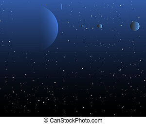 Night Sky with stars and a planet system