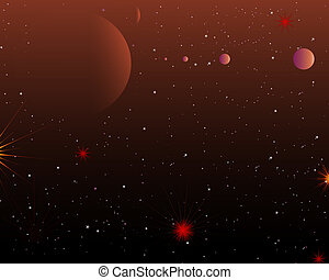 Red Space Planets And Stars