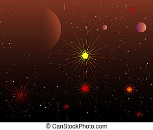 Red Space Stars And Planets