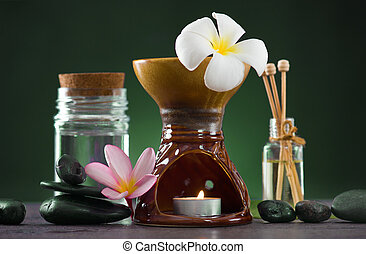 tropical frangipani aroma therapy spa health treatment with  and hot stones