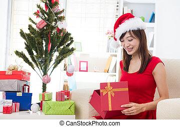 henne, Asiat, Hem, flicka, jul, firande