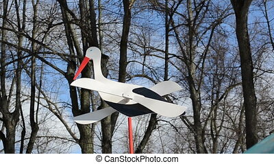 wood stork wing rotate - wooden decorative white stork...