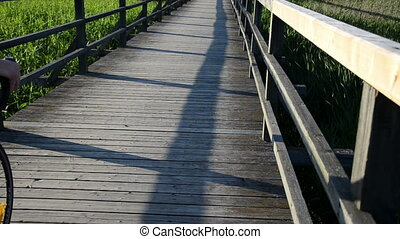 bicicle pass bridge - wooden board plank bridge with...