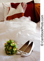 Wedding gown - Wedding dress with bouquet and shoes in the...