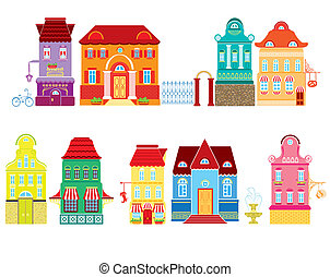 Set of Cartoons fairy tale drawing houses isolated on white...