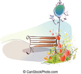 Bench and lamp post - This illustration is a common...