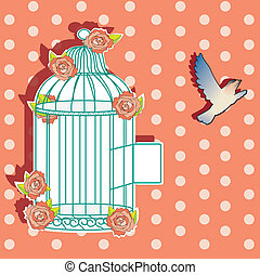 Shabby cage - Illustration in shabby style of cage decorated...