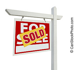 Sold Home For Sale Real Estate Sign on White - Sold Home For...