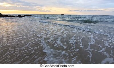 waves movement at sunset at Borneo, Sabah, Malaysia