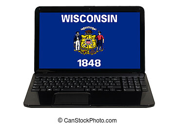 laptop computer with flag of american state of wisconsin -...