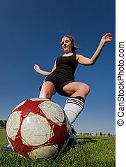 Female soccer kick